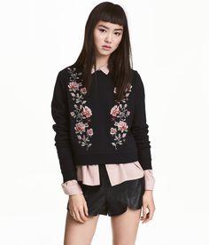 Embroidered Sweatshirt | Black/roses | Ladies | H&M US