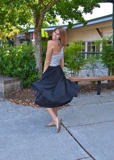 Striped tank, black midi skirt, leopard flats | Fishbowl Fashion