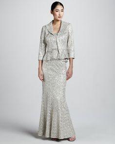 Metallic Lace Peplum Blouse & Metallic Lace Mermaid Skirt by Kay