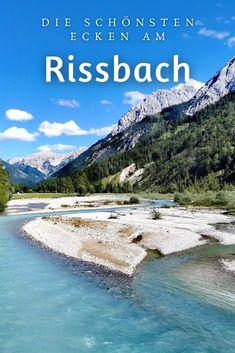 Rißbach – wilder Fluß im Karwendel: Der Rißbach ist einer der letzten wilden Flüsse im Karwendel - fast 30 Kilometer darf er wild und ungebändigt fließen bevor er wird kurz vor der Mündung in die Isar von Menschenhand gelenkt: Nämlich in Richtung Walchensee zum Walchenseekraftwerk. Das sind die schönsten Stellen! #rißbach #rissbach #eng #karwendel #wildfluss #alpen Hall In Tirol, Reisen In Europa, To Go, Mountains, Places, Nature, Highlights, Travel, News