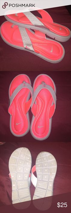 Nike sandals Barley used Nike sandals. Super cute, size 10 and as portrayed in the picture. No damages   Fast shipper: same or next day shipping guaranteed. Willing to do price adjustments! Nike Shoes Sandals