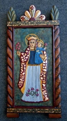 New Enconchado Retablo, Nuestra Senora de la  Candelaria Religious Images, Religious Icons, Religious Art, Nativity Stable, Colonial Art, Spanish Art, Blessed Mother Mary, Art Deco Posters, Catholic Art