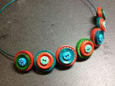 Stacked Button Choker Red Green & Teal £10.00