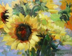 The Sunshine Bunch - sunflowers when you need a bright spot , painting by artist Mary Maxam