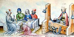 Gastmahl in Bethanien  Kunstwerk: Federzeichnung koloriert ; Illustrationszyklus Typologie ; Miniatur ; Wien ; Lk:07:036-050 , Mt:26:006-013 , Mk:14:003-009 , Jo:12:001-008  Dokumentation: 1420 ; 1440 ; Madrid ; Spanien ; Biblioteca Nacionale ; Ms. B. 19 (Vit 25-7) ; fol. 14v  Anmerkungen: Speculum Humanae Salvationis