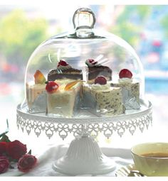 metal cake stand with glass cover - Glass Cake Dome