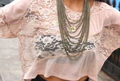 pink lace shirt and necklace