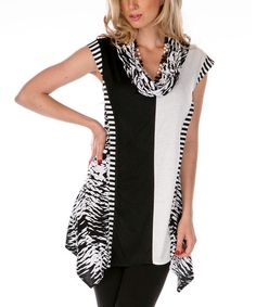 Another great find on #zulily! Black & White Cowl Neck Tunic by Aster #zulilyfinds $32.99 - Aster Women