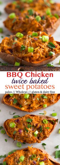 6 ingredients for the ultimate game day snack, appetizer, dinner, or meal prep, theseBBQ Chicken Twice Baked Sweet Potatoes will be a crowd pleaser and are paleo, gluten and dairy free, and Whole30 approved! - Eat the Gains #sweetpotato #whole30 #paleo #glutenfree