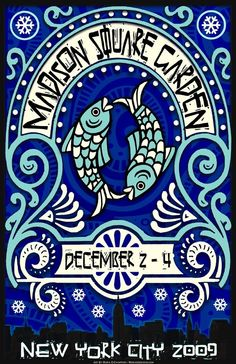 Original concert lot poster for Phish at Madison Square Garden in New York City, NY 2009. 11 x 17 on cardstock. Art by Maria DiChiappari.. Made with love!!