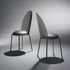 375    SHIRO KURAMATA    Hal side chairs, pair    Terada Tekkojo, Ltd.  Japan, 1987  wire mesh, enameled steel, upholstery  16 w x 20 d x 35.75 h in