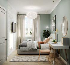 Green Bedroom Walls, Sage Green Bedroom, Bedroom Wall Colors, Room Ideas Bedroom, Home Decor Bedroom, Small Master Bedroom, Aesthetic Room Decor, Room Inspiration, Future
