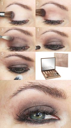 Easy everyday smoky taupe tutorial with the Urban Decay Naked Ultimate Basics palette. Great for all eye shapes. Works well on hooded eyes.