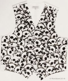 Men's Formal White Extra Large Skull Vest XL Vest