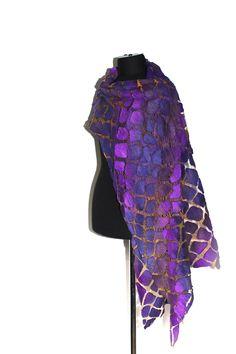 "https://flic.kr/p/fN3oUf   Nuno Felted Wrap Scarf   50/50 Extrafine Australian merino wool / mulberry silk, cotton gauze fabric. Length 88 1/2"" (225 cm) Width 16 1/2"" (42 сm)"