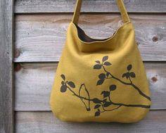 Hemp Bag with Songbird Organic Cotton Lining  Deep Gold by Uzura, $58.00.  want!