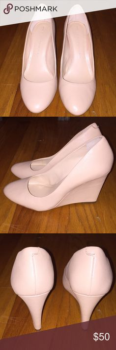 Nude wedges Worn once!  Beautiful nude leather wedges in mint condition Banana Republic Shoes Wedges