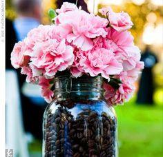 Mason Jar, Coffee Beans, Flowers