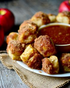 These cinnamon sugar pretzel bites are loaded with apples and cinnamon! Great for dunking in homemade salted caramel sauce! Fruit Recipes, Apple Recipes, Fall Recipes, Holiday Recipes, Snack Recipes, Cooking Recipes, Recipies, Yummy Recipes, Sweet Desserts