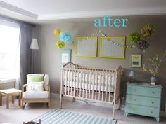 Grey walls blue dresser yellow accents not a new nursery!  Play room color ideas.
