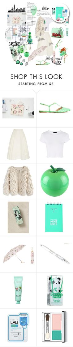 """""""Peppermint Twist #33"""" by strawberry-latte ❤ liked on Polyvore featuring Lenora, Zac Posen, Topshop, Chicwish, Tony Moly, Comme des Garçons, Anthropologie, TITE and Clinique"""