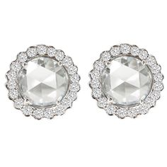 Rosecut Diamond Gold Stud Earrings   From a unique collection of vintage stud earrings at https://www.1stdibs.com/jewelry/earrings/stud-earrings/