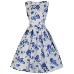 White Blue Floral Audrey Swing Dress