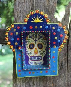 Day of the Dead Sugar Skull Reliquary, Muerto, Tin Niche Nicho, Mexican Folk Art