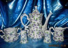 Vintage LEFTON Violet Chintz Teapot Coffee Pot Creamer Sugar Salt & Pepper  #Lefton