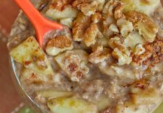 Apple Pie Oatmeal from OhSheGlows. Oats, chia seed, granny smith apple, walnuts, apple sauce, ginger, cinnamon and maple syrup. yum!