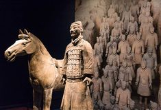This image of the horse and warrior stands in front of a large photo of the Terracotta Warriors as they were found in the Tomb of the Emperor, Qin Dynasty. Virginia Museum of Fine Arts. Warriors Standing, Qin Dynasty, Large Photos, Museum Of Fine Arts, Emperor, Terracotta, Virginia, Horses, Statue