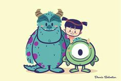 Lil BFFs: Sully, Mike and Boo disney character design pixar monsters inc Arte Disney, Disney Fan Art, Disney Fun, Cute Disney Drawings, Cute Drawings, Drawing Faces, Cartoon Sketches, Cartoon Art, Cute Cartoon Characters