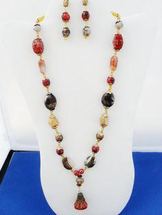 Red line marble OOAK bronze Swarovski  amber red by ElmsRealm, $30.00