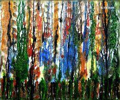 Floresta - Acrílico e textura sobre tela