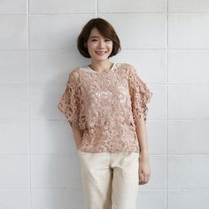 Over-Size Tops Lace Cotton Ylang-ylang Tan Color -www.tanbagshop.com