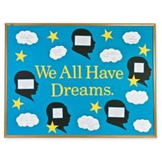 """BULLETIN BOARD DISPLAY IDEAS~  Pages of winter and holiday bulletin board ideas including this """"We All Have Dreams""""  idea for Martin Luther King Day!"""