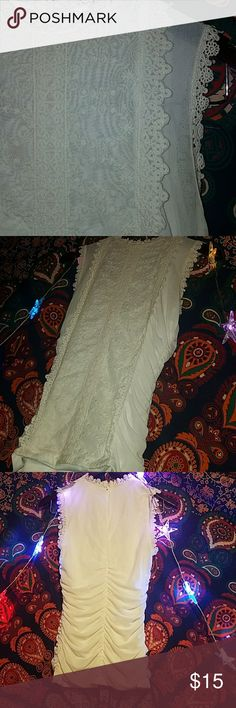 White lace crochet roughed wedding dress look Sleeve less tank top small but I'm a Medium with a large bust and looked nice too!! Goes well with a skirt or jeans! Dressy Charlotte Russe Tops Blouses