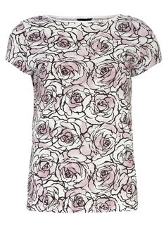 Pink linear floral tee