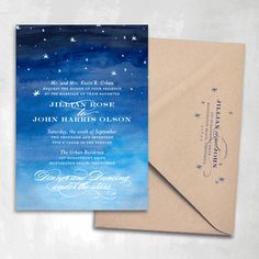 Starry Night Wedding Invitations  These would be really cool, but with a slightly more nerdy approach - and hues of purple, less navy blue. Because ew blue.