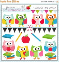 ON SALE School Time Owls  Cute Digital Clipart by JWIllustrations