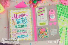 cute neon/confetti invite