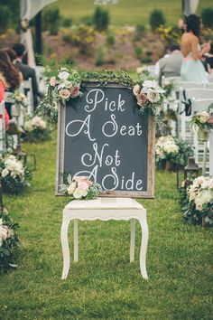 Ceremony seating chalk sign. Such a great idea! | Jessica Christie Photography | Brides.com