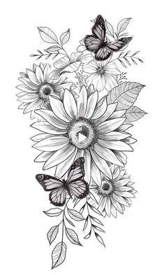 Bild Tattoos, Dope Tattoos, Pretty Tattoos, Leg Tattoos, Beautiful Tattoos, Body Art Tattoos, Small Tattoos, Tatoos, Sunflower Tattoo Sleeve