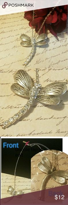 """Burnished Silver & C.Z. Dragonfly Necklace Burnished SP. dragonfly pendant measures 1.5"""" long and wide @ top wings. 18"""" + 3"""" extender chain  Item#N416 ALL JEWELRY IS NWT/NWOT/UNUSED VINTAGE         25% OFF BUNDLES OF 3 OR MORE ITEMS LaSENZA Jewelry Necklaces"""