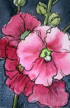 """Pink hollyhocks in watercolor with ink. 5"""" x 7"""""""