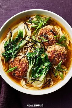10 of Real Simple's Favorite Anti-Inflammatory Recipes That'll Make You Feel Better Than Ever | This easy-to-make recipe combines two delicious dishes: spaghetti with meatballs and ramen noodle soup. You'll get inflammation-fighting benefits from the fresh ginger, scallions, miso, and boy choy, but feel free to swap the sesame oil and/or canola oil for olive oil for an even bigger boost. #recipes #recipeideas #realsimple #healthyrecipes #healthyfood #mealideas
