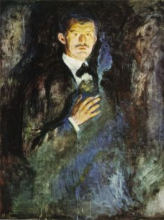Edvard Munch - Self portrait with cigarette - 1895