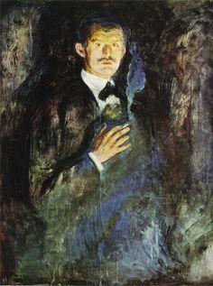 Edvard Munch - Self portrait with cigarette - 1895