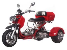 TRI012 150cc Trike Automatic Transmission, GY-6 Engine, Air Cooled, Differential Gears, Front /Rear Disc Brakes, Aluminum Wheels, Trunk, Tow-Hitch Included, Metallic Paint, U.S. Patented Trike $1899.00