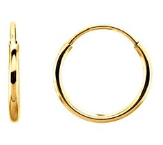 Small 14k Yellow Gold Endless Hoop Earrings - 10mm >>> You can get more details by clicking on the image. (This is an affiliate link and I receive a commission for the sales)